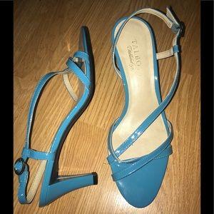 TALBOTS 7 B Turquoise Patent Slingback Sandals EUC